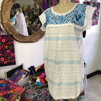 Oaxaca White Short Loomed Dress with Blue Embroidery