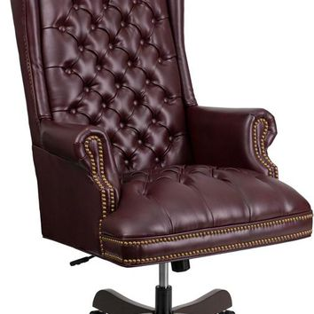 High Back Traditional Fully Tufted Burgundy Leather Executive Swivel Ergonomic Office Chair with Arms [CI-360-BY-GG]