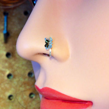 Butterfly Wing Nose Ring w/Olive green beads in silver, gold or rose gold 24 and 22 gauge wire