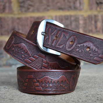 Vintage 70's Tooled Leather Mexico County Western Belt