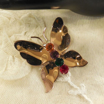 Vintage Coro Craft Sterling Gold Vermeil  Rhinestone Butterfly Brooch