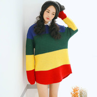 Color Block Knit Long Sleeve Pullover Sweater