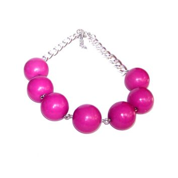 1980s Hot Pink Necklace, Big Huge Beaded Chain Necklace