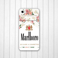 Unique Floral Marlboro Phone 5 case, Cigarettes iPhone 4s case, iPhone 4 cover, iPod Touch 5 cover