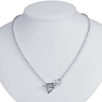Sterling Silver 3mm Heart Toggle Rolo Chain Necklace - 17 Inches