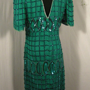 Dress, Cocktail Dress, Sequined Party Dress, Christmas, New Year's Eve, Kelly Green, Size Large.