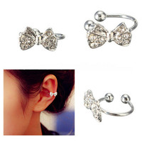 Fashion Crystal Bowknot Ear Cuff Silver Plated Ear Bone Clip Rhinestone Earrings