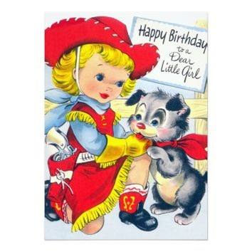 Little Cowgirl Birthday Party 5x7 Paper Invitation Card