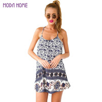Sexy Dress Floral Elephant Print Beach Dress Spaghetti Strap Sleeveless Swing Mini Dress