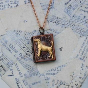 Good DOG Book Locket Necklace Pet Dog
