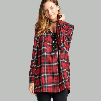 LONG SLEEVE CHEST TWO POCKETS LACE-UP OVERSIZE PLAID SHIRT