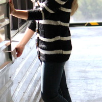 Deep V-Neck Striped Cardigan with Big Buttons