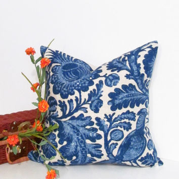 Designer Accent Pillow Tucker Resist Indigo Waverly Fabric Decorative Pillow Cover.
