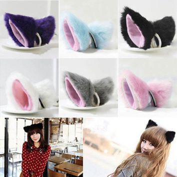 Orecchiette Party's Long Fur Ears Anime Neko Costume Hair Clip Cosplay (Color: Multicolor)
