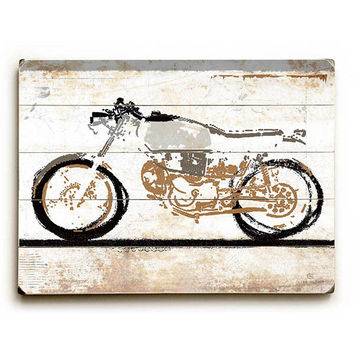 Motorcycle by Artist Peter Horjus Wood Sign