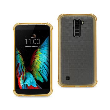 LG K10 Clear Bumper Case With Air Cushion Protection (Gold)
