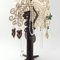 Wooden Black Woman - Jewelry Organizer / Holder / Stand for Earrings / Necklaces / Bracelets - Good Gift Idea for Her