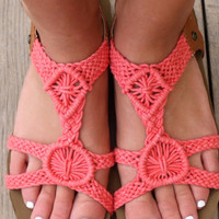 Worth It Coral Crochet Cork Sandals