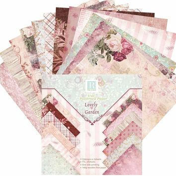 24 Sheets Lovely Garden Scrapbooking Pads Paper Origami Art Background Paper Card Making DIY Birthday Scrapbook Paper Craft