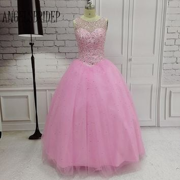 ANGELSBRIDEP 2017 New Pink Beaded Prom Dresses Robe de Soiree Ball Gown Open Back Long Formal Evening Party Gown