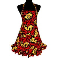 Kitchen Apron for Women , Asian Dragons on Red Flames , Oriental Restaurant Decor