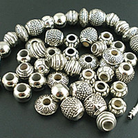 50PCs Mixed Silver Tone Acrylic Spacers Beads Fit Charm Bracelet For Jewelry Making