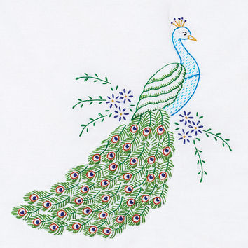 "Stamped White Quilt Blocks 18""""X18"""" 6/Pkg-Peacock"