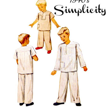 40s Boys Two Piece Pajama Pattern Pull Over Top Elastic Waist Pants Sleeve Options Vintage McCall 7070 Sewing Patterns Printed Size 4