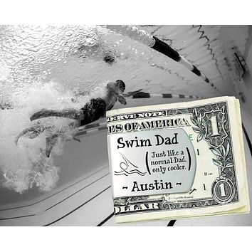 Swim Dad Personalized Money Clip | Gift for Dad