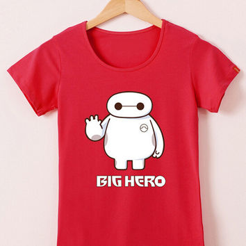 Red Big Hero 6 Cartoon Print Short Sleeve T-shirt