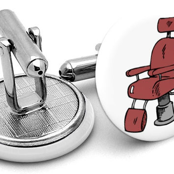 Barber Chair Barbershop Cufflinks
