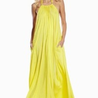 An Elan Usa Maxi Halter Tie Flowy Long Dress (RY597) (YELLOW, SMALL)