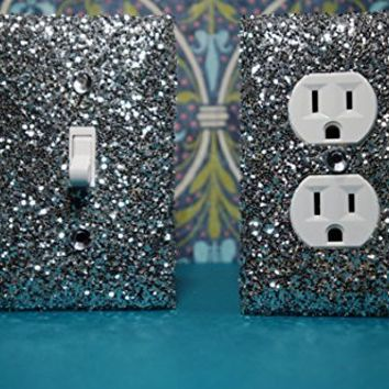 SET Chunky SILVER Glitter Switch Plate Outlet Covers ALL Styles Available!