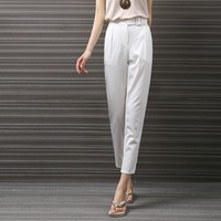 Yichaoyiliang Simple White Harem Pants For Women High Waist Business Office Trouser Pocket Capri Pants