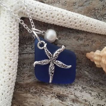 Handmade in Hawaii, Cobalt blue sea glass necklace, Sea starfish charm , Fresh water pearl, 925 sterling silver chain, gift box