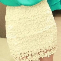 White High Waisted Lace Mini Skirt by Summershopping on Zibbet