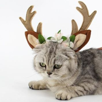 Fashion Adjustable Christmas Deer Antler Headband and Cat Buckhorn Costume with Flowers Blossom for Cats and Dogs