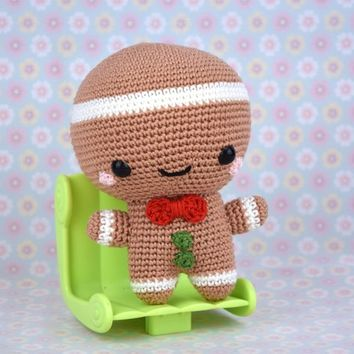 Crochet Gingerbread man - christmas decoration - amigurumi christmas - Thanksgiving - StorylandAmis - Winter - Biscuit - Made in France