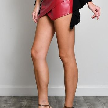 Wrap Style Leather Skort