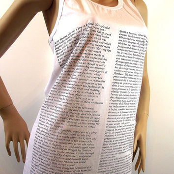 Les Miserables Tank Top White tshirt Literary Shirt Screen Printed English and French Book Text Raceback Cut Tank Top Pima Cotton
