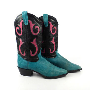 Vintage 1980s  Black Teal and Pink Faux Lizard Leather Cowboy Boots Women's size 6