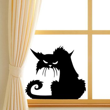 14.5*13.5cm Black Cat Wall Stickers,Halloween Plane Cartoon Window Glass Stickers,Hot Children Home Decor Decals