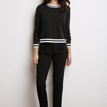 Varsity-Striped Trim Sweater