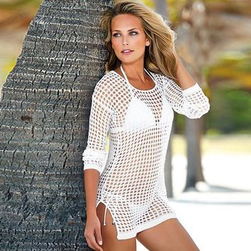 Women's Split Bikini Coverup Knit Crochet Tunic Cover up Beachwear