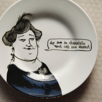 FAT LADY funny plate funky gift dessert plate