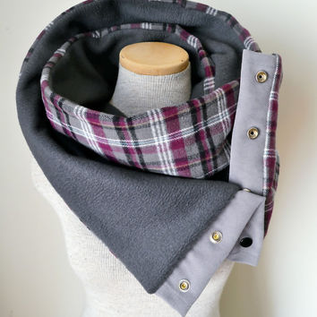 Plum and Charcoal Grey Plaid Snap Scarf