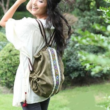 Embroidered Floral Backpack Travel School Shoulder bag