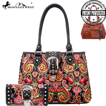 Montana West HW-MW116G-8332 Paisley Print Concealed Carry Handbag w/Wallet Set