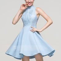 [ 82.99] A-Line/Princess High Neck Short/Mini Satin Homecoming Dress (022089915)