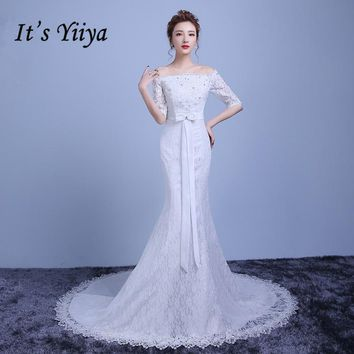 It's Yiiya Lace Boat Neck Half Sleeves Lace Mermaid Wedding Dresses White Trailing Bride Gowns Custom Made Vestidos De Novia Y34